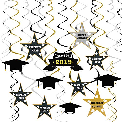 Graduation Party Supplies 2019 Graduation Decorations 30PCS Hanging Swirls, Included 15 Spiral with Pendants, 15 Double Hanging Swirls