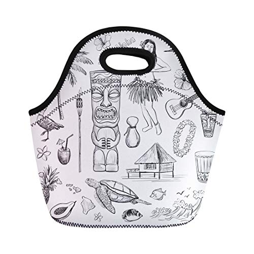 Semtomn Lunch Tote Bag Green Tiki Hawaii Collection of Sketches Pictures on Doodle Reusable Neoprene Insulated Thermal Outdoor Picnic Lunchbox for Men Women