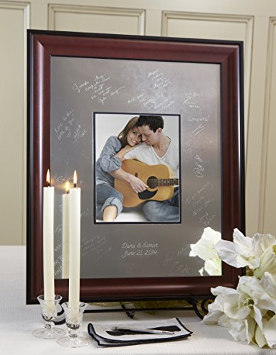 Signature Keepsakes Frame Engravable Signature Mat Guest Book, Medium, Silver/Mahogany/Black (Platter Keepsake Signature)