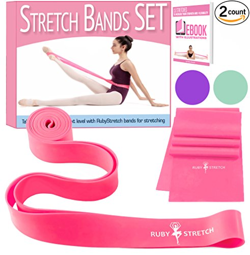Set of 2 Stretch Bands for Exercise for Kids & Adults + Dancer Gifts Box - Stretching Bands for Flexibility Leg Stretcher
