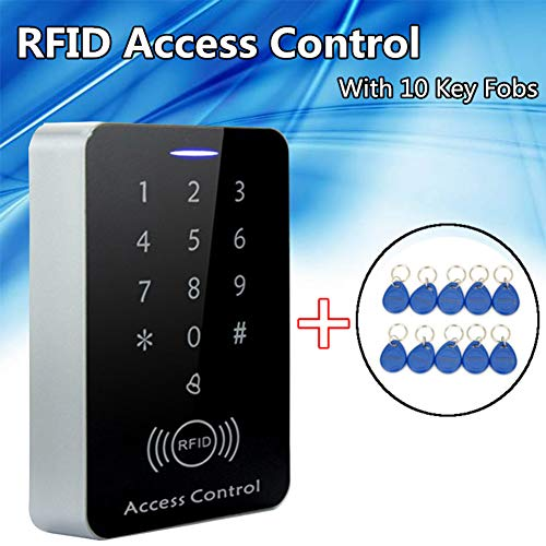 Access Control Device,dezirZJjx RFID Code Lock Entrance Access Control System Door Opener Device with 10 Key Fob
