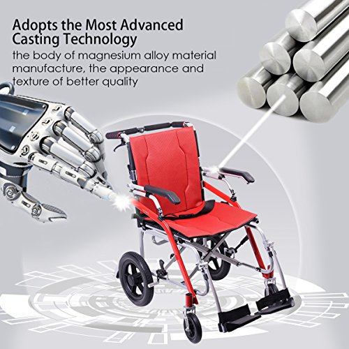 Hi-Fortune 21 lbs Lightweight Transport Medical Wheelchair with Adjustable Armrests and Hand Brakes, Portable and Folding with Magnesium Alloy, 18'' Seat, Red by Hi-Fortune (Image #8)