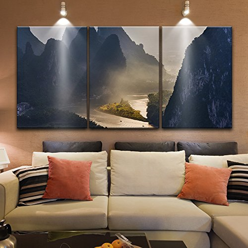 3 Panel Landscape of Mountains x 3 Panels