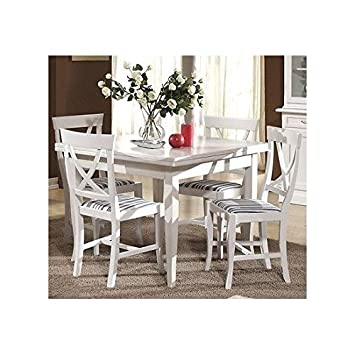 Tisch Holz Quadratisch 100 X 100 Ausziehbar 4 Stühle Lackiert Weiß Holz  Massivholz U2013 Wie Foto