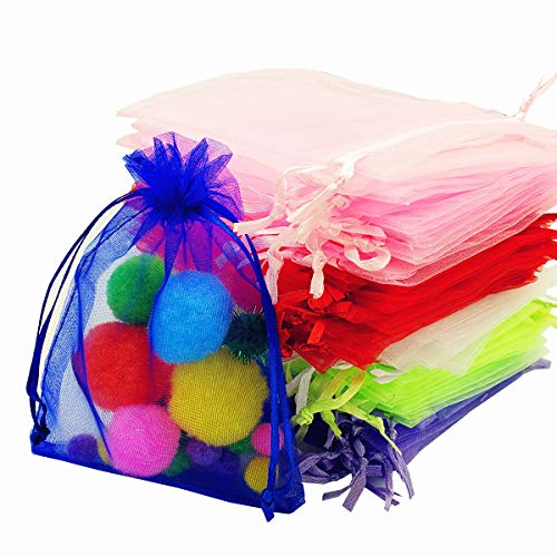 Himeeu 100pcs Mix Colors 3.9x4.7 inch Organza Drawstring Bags Sheer Organza Favor Bags for Wedding Party Jewelry Candy Organizer Bag Mesh Gift Pouches Coffee Beans Teas Nuts Seeds Herbs Bags