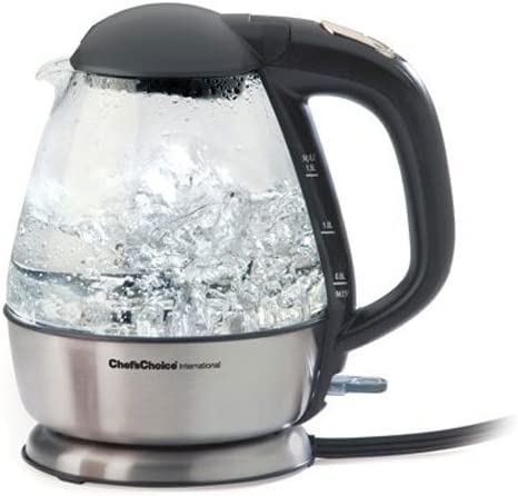 Chef sChoice 680 Cordless Electric Glass Kettle In Brushed Stainless Steel Includes Illuminated On Off Switch Auto Shut Off Boil Dry Shut Off Protection, 1.5-Liter, Silver