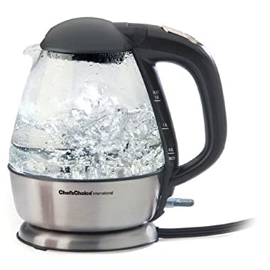 Chef'sChoice 680 Cordless Electric Glass Kettle In Brushed Stainless Steel Includes Illuminated On Off Switch Auto Shut Off & Boil Dry Shut Off Protection, 1.5-Liter, Silver