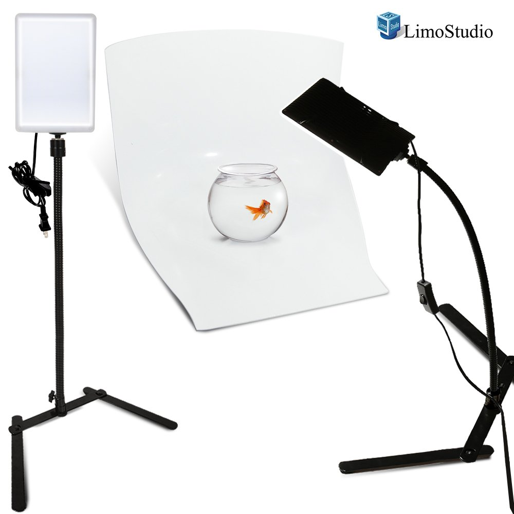 LimoStudio 2 Sets of LED Light Panel with Goose Neck Extension Adapter, Mini Table Top Camera Light Stand, Seamless Studio Matte Cyclorama Module Background Tray, Photo Lighting Studio Kit, AGG2241