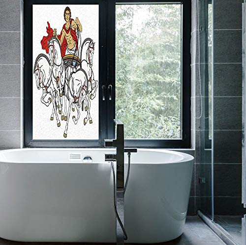 ALUON Frosted Window Film Stained Glass Window Film,Toga Party,Work Well in The Bathroom,Hellenic Man on The Chariot Drawn by Roman,24''x48'']()