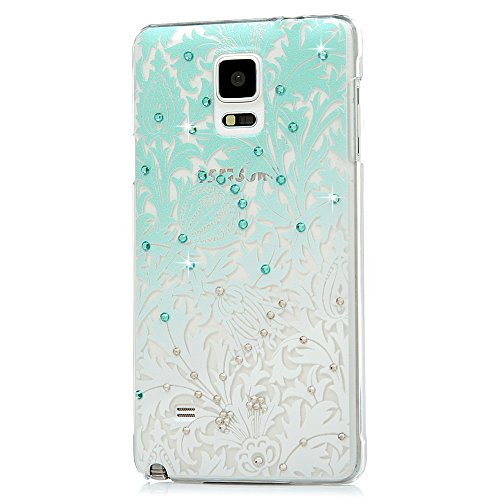 Note 4 Case,Galaxy Note 4 Case - Mavis's Diary 3D Handmade Bling Crystal Shiny Diamonds Rhinestone Special Hollow Floral Green Gradient Pattern Hard PC Cover Clear Case for Samsung Galaxy Note (Quick Halloween Decorations To Make)