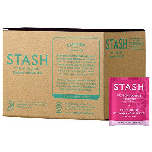 - Stash Tea Wild Raspberry Hibiscus Herbal Tea 100 Count Box of Tea Bags in Foil (packaging may vary) Individual Herbal Tea Bags for Use in Teapots Mugs or Cups, Brew Hot Tea or Iced Tea