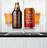Ambesonne Man Cave Decor Kitchen Curtains, Bottle and Can with Label Keep Calm and Drink Beer Cool Refreshments Drink, Window Drapes 2 Panel Set for Kitchen Cafe, 55 W X 39 L Inches, Multicolor For Sale