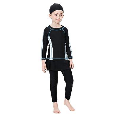 Acqrobe Kids Girls Muslim Modest Swimwear 3 Pieces Parent-Child Swimming Costumes Islamic Burkini Sun Protection Surfing Suit Swimsuits