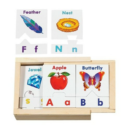 Melissa & Doug Learn the Alphabet Puzzle Cards With Wooden Storage Box (52 pcs) - Things That Start With The Letter B