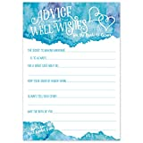 Wedding Advice Cards (50 Count) - Teal Blue Watercolor - Advice & Well Wishes for the Bride & Groom - Prompted Fill In the Blank Style with Double Hearts - Bridal Shower Game or Reception Activity