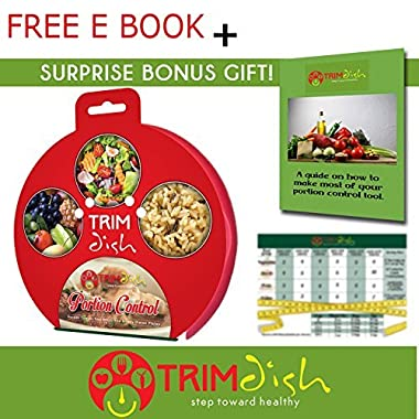 Portion Control Plate TrimDish With Guide - Take Control Now on Healthy Diet by Measuring Meal, Use Weight Loss Plate
