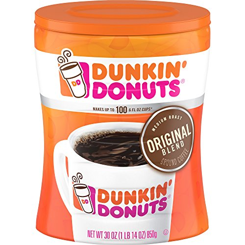 Dunkin' Donuts Original Blend Ground Coffee Canister, Medium Roast, 30 Ounce