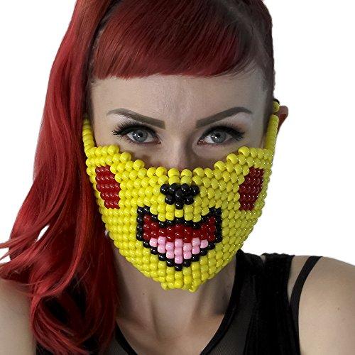 """Masque Kandi """"Pokémon Pikachu"""" - Kandi Gear, masque pour rave party, masque pour Halloween, masque de perle pour festivals de musique et fêtes"""