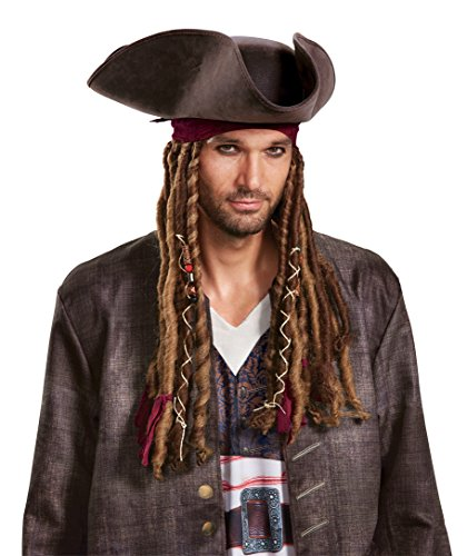 Disney Men's POTC5 Captain Jack Sparrow Hat, Bandana and Dreads-Adult, Multi, One Size