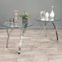 The Modern Round Glass Top Coffee End Table 2 Piece Set Is Perfect for a Bedroom Office or Patio Furniture. This Stylish High End Table Has a Contemporary Durable Design Guaranteed to Upgrade Your Living Room. Get Your Matching Coffee Table Set Today