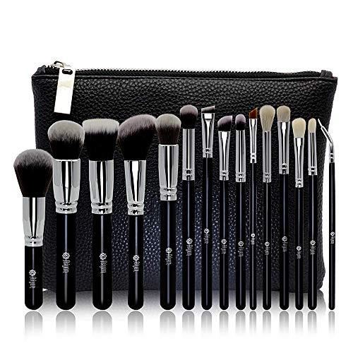 (FEIYAN Makeup Brush Set Professional Luxury Super Soft Bristles Makeup Brushes with Kabuki Face Powder Foundation Blush Eyeshadow Blending Cosmetics Make Up Brushes Kit (15pcs Black Silver))