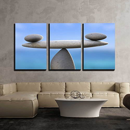 "wall26 - 3 Piece Canvas Wall Art - Spa Stones Showing Perfect Balance and Wellness - Modern Home Art Stretched and Framed Ready to Hang - 24""x36""x3 Panels"