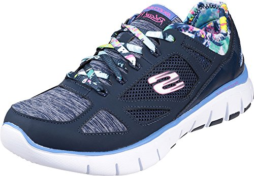 ONLYuniform Skechers Skech Flex Tropical Vibes Shoe Ladies Footwear Lace Up Running Trainers Navy/Multi