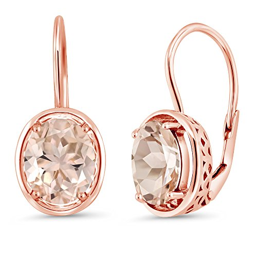 Gem Stone King 3.20 Ct Oval Peach Morganite 18K Rose Gold Plated Silver Dangle - Oval Gem Natural Peach