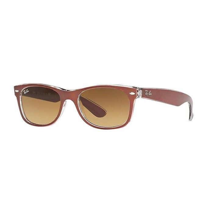 Ray-Ban New Wayfarer, Gafas de Sol Unisex adulto, Marrón (Brown and Transparent 614585), 55 mm