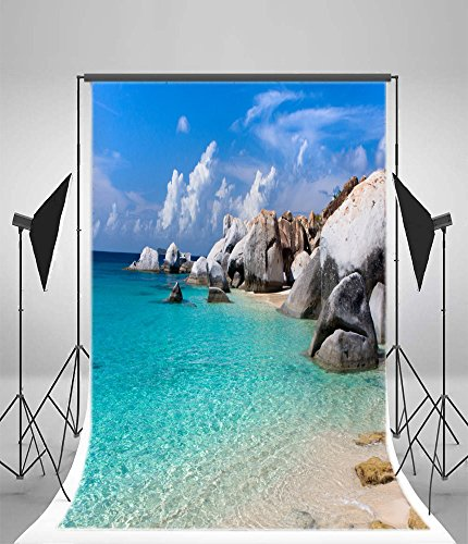 Leyiyi 5x7ft Seaside Holiday Backdrops Ocean Water Sand