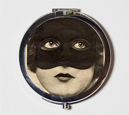 Flapper Mask Compact Mirror Art Deco Jazz Age 1920s 20s Pocket Size for Makeup Cosmetics