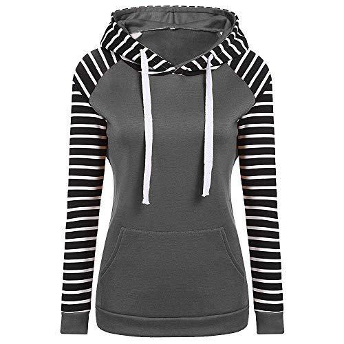 Youngh Womens Sweatshirt Plus Size Stripe Loose Long Sleeve Hooded Fashion Pollover Shirt Tops (Alumni Tee)