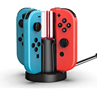 Charger for 4 Joy-Cons Controllers with Individual LED Indicator Charging Station Stand Dock For Nintendo Switch