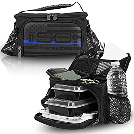 Thin Blue Line ISOMINI 2 Meal Prep Management Insulated Lunch Bag Cooler  With 4 Reusable Meal 1ee549e339