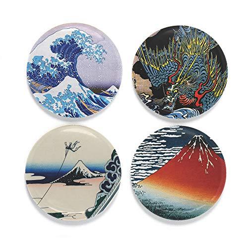 Buttonsmith Hokusai 4 Magnet Set - Set of 4 1.25
