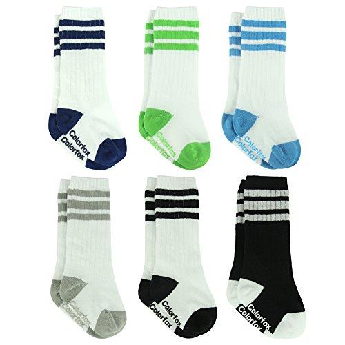 (Colorfox Newborns Knee high Socks Baby Boys Girls Cotton Athletic Football Retro Tube Socks 6 Pairs)