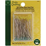 Dritz Quilting Crystal Glass Head Pins, 1-7/8-Inch, 100 Count 3 PACK