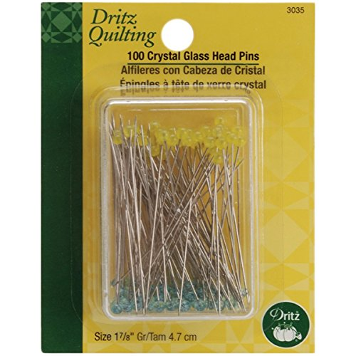 Dritz Quilting Crystal Glass Head Pins, 1-7/8-Inch, 100 Count 2 - Crystal Pins Glass