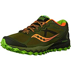 Saucony Men's Peregrine 6 Trail Running Shoe,Olive/Green/Orange,8 M US