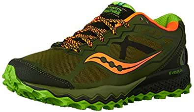 Saucony Men's Peregrine 6 Trail Running Shoe,Olive/Green/Orange,7 M US