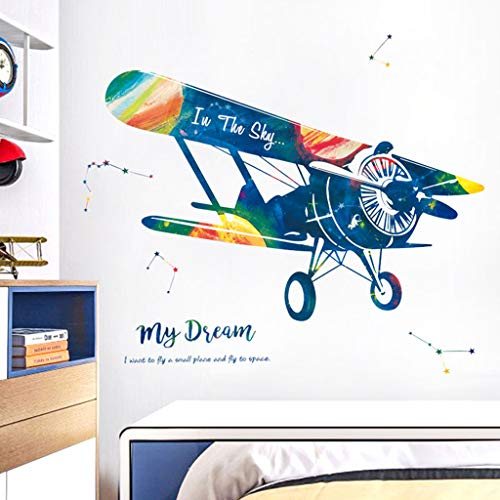 SUJING Cartoon Airplane/World Map PVC Wall Stickers for Bedroom Living Room Wall Decorations for Kids Boys And Girls (A)]()