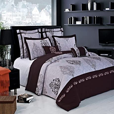 13 PC California King Size Gizelle Embroidered Royal Hotel Collection Bed In A Bag Including Duvet Cover Set Bed Skirt Down Alterntaive Comforter Sheet Set 100 Cotton
