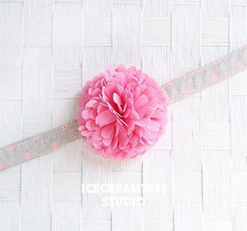 Pom Pom Bloom Collar Slide On, Flower Collar Accessories, Corsage Accessories, Collar Add On, Pom Pom - Pink Sorbet