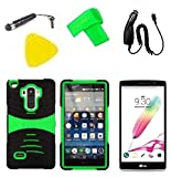 Hybrid Cover Case Cell Phone Accessory + Car Charger + Screen Protector + Extreme Band + Stylus Pen + Pry Tool For LG G Stylo LS770 / LG G4 Stylus H631 / LG G Stylo MS631 (S-Hybrid Black Green) -  ExtremeCases