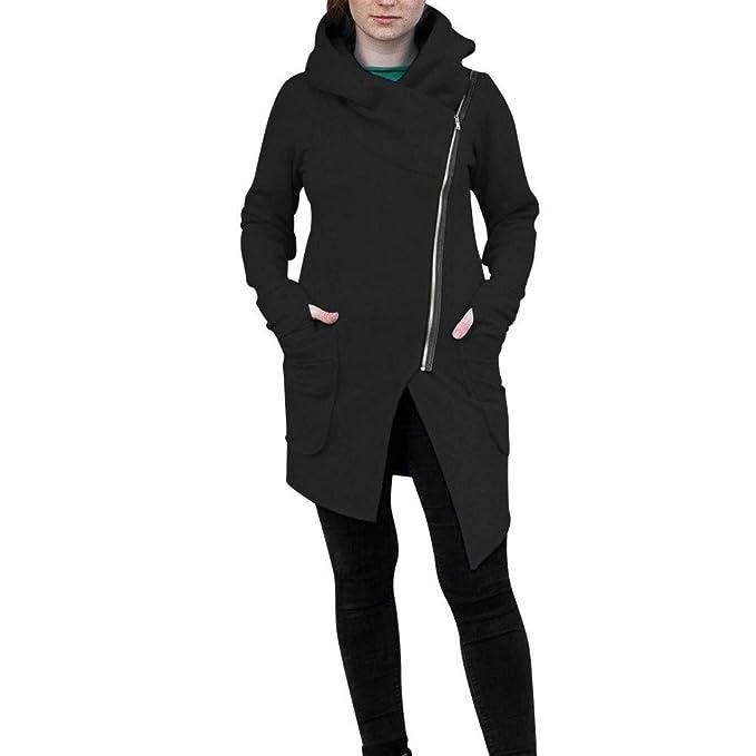 POLP Abrigos mujer Las Mujeres Invierno Cremallera Blusa con Capucha Sudadera de la Capa Chaqueta Outwear Ropa de Abrigo S-5XL Gris Negro: Amazon.es: Ropa y ...