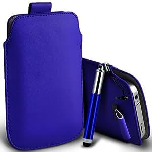 Nokia Lumia 820 premium protección PU ficha de extracción Slip Cord En la cubierta de la caja del filtro del bolsillo de la Piel y Mini capacitiva lápiz óptico retráctil Azul por Spyrox