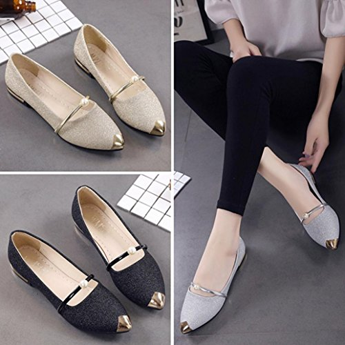 Heel Mouth Women Shoes Shallow Low Shoes Flat Toe Black Flat Shoes HGWXX7 Shoes Single Ladies Casual Pointed Y0nOXq0r