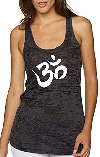 Yoga  Aum  Om  Ohm  India Symbol Burnout Racerback Tank Top  Large  Black