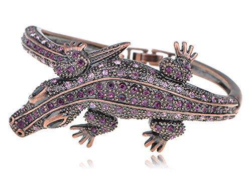 Alilang Copper Tone Amethyst Colored Rhinestones Alligator Crocodile Bangle Bracelet (Colored Rhinestone Costume Jewelry)