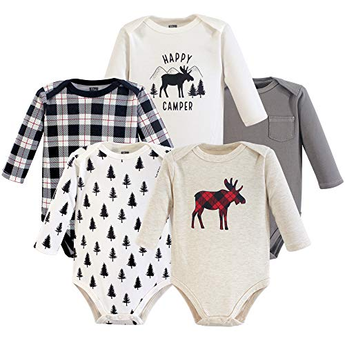 Hudson Baby Unisex Baby Long Sleeve Cotton Bodysuits, Moose Long Sleeve 5 Pack, 9-12 Months (12M)